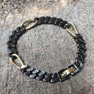 Vintage Monet chain link gold black bracelet